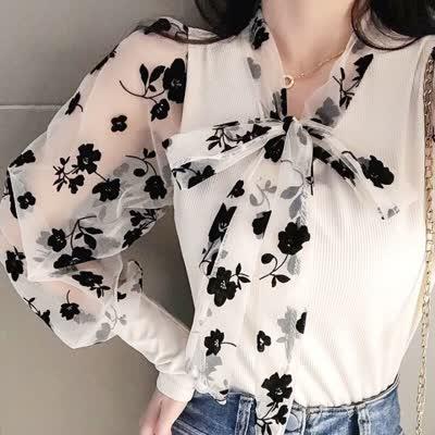 2020春季蕾丝打底衫长袖性感蕾丝衫上衣|蕾丝衫
