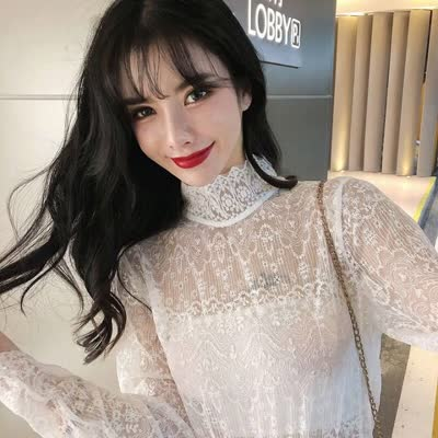 早春韩版网红同款高弹力蕾丝打底衫蕾丝衫爆款|蕾丝衫