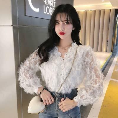 韩版网红同款蕾丝打底衫蕾丝衫爆款东大门蕾丝衬衫|蕾丝衫