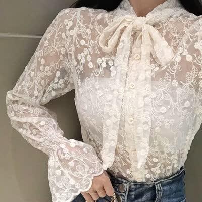 2020春季蕾丝打底衫长袖内搭性感蕾丝衫上衣|蕾丝衫