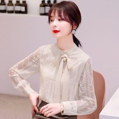 实拍2020春装新款蕾丝衬衫长袖女装上衣宽松洋气雪纺衫小衫,颜色:蓝色、杏|蕾丝衫