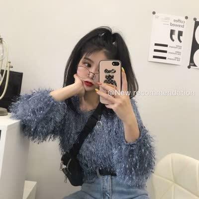 新款韩版小清新ins气质流苏显瘦高级感上衣 实拍,颜色:蓝色、白色,尺码:均码|蕾丝衫