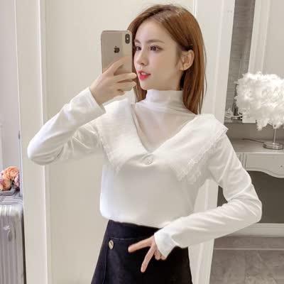 货号88730#,实拍秋冬新款2019金丝绒蕾丝性感内搭打底衫韩版设计感|蕾丝衫