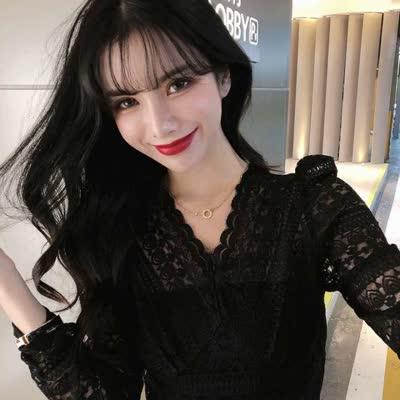 货号8710#,实拍!韩版网红同款高弹力蕾丝打底衫蕾丝衫微商爆款东大门|蕾丝衫