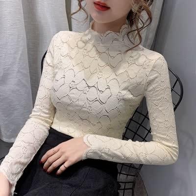 秋冬紧身洋气欧货蕾丝网纱小上衣精致内搭半高领加绒打底衫女,颜色:白|蕾丝衫