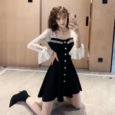 2020秋裝新款喇叭袖蕾絲拼接收腰連衣裙智熏裙韓版桔梗裙流行裙子