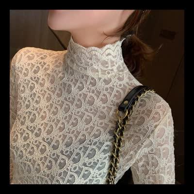 货号A3136#,实拍 高领蕾丝衫女秋冬新款韩版气质紧身长袖镂空打底衫上衣|蕾丝衫