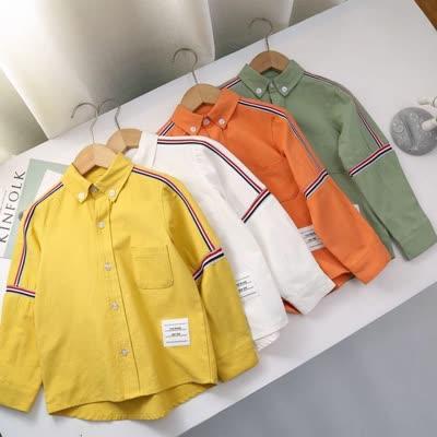 专柜代购春款休闲薄款三色织带翻领长袖衬衣。 Thom Browne 儿童衬衫sj