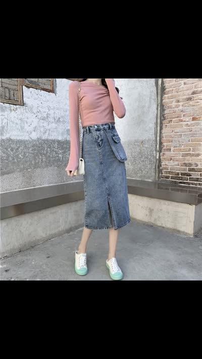 货号65005#,实拍高腰中长款chic牛仔半身裙女不对称前开叉大口袋包臀裙