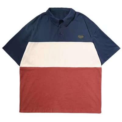 2020新款网络图青少年学生半袖T恤上衣男欧美宽松三色印花短袖POLO衫潮