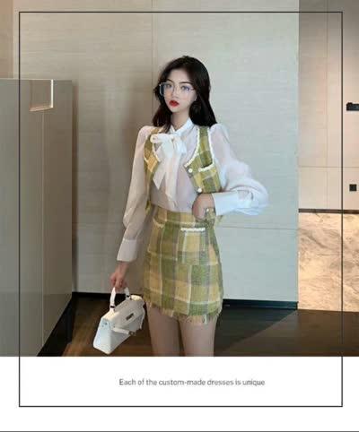 花边蝴蝶结衬衫上衣+小香风套装