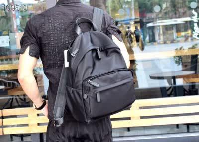 20新款休闲男士防水布搭配牛皮双肩包 多功能大容量背包登山旅行包电脑包
