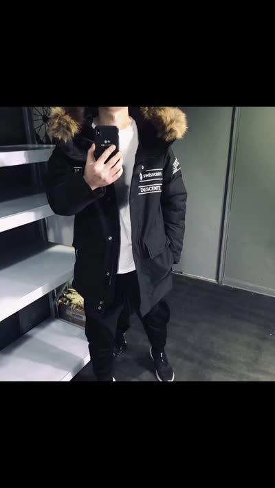 高端冬季男中长版印花字母连帽毛领羽绒服外套