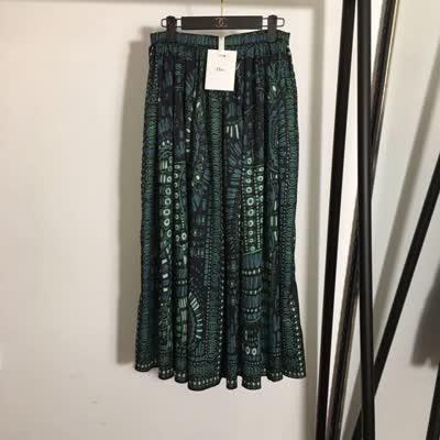 2020春季新款女士真丝复古印花高腰百褶半裙