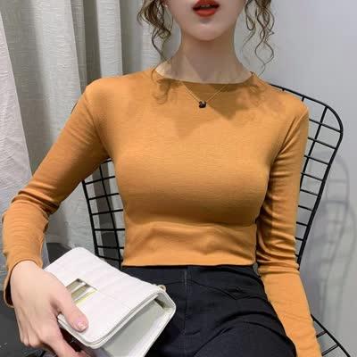 【伊人丽影】实拍#2020早春新款女装韩版纯色打底衫T恤女长袖上衣修身百搭T恤9369