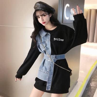 长袖卫衣女2020开春新款韩版牛仔拼接中长款收腰修身上衣时尚外套