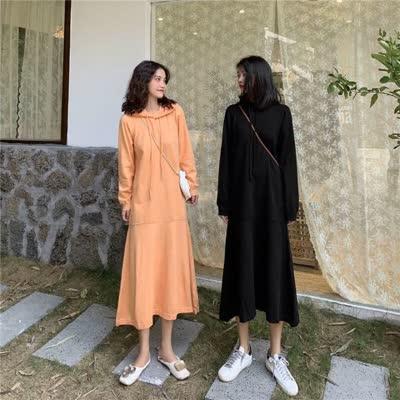 货号62298#,实拍实价 韩版针织连衣裙中长款打底内搭荷叶边裙子,颜色:黑色、橘色