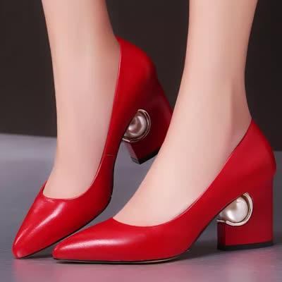 女鞋2020新款真皮高跟鞋欧美尖头粗跟单鞋浅口珍珠鞋子一件代发