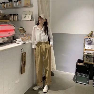 独家定制 春装新款翻领衬衫衬衣+长裤套装
