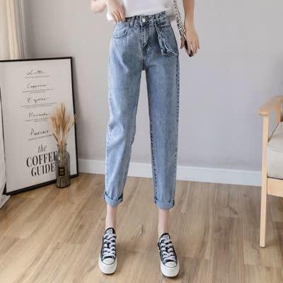 高腰牛仔裤女春装2020款女韩版网红老爹萝卜裤宽松显瘦直筒哈伦裤