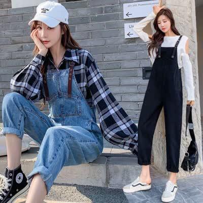 货号3831#,实拍2020春季新款女装时尚显瘦休闲牛仔裤潮流舒适易搭背带裤