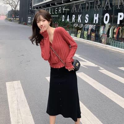 独家定制 春装新款吊带裙连衣裙+针织开衫两件套装