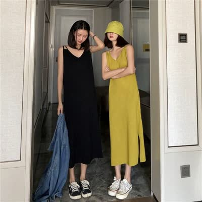 2020春夏新款宽松慵懒连衣裙针织吊带背心裙