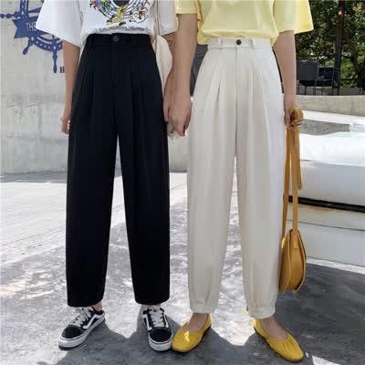 2020年春季休闲直筒西装裤女高腰显瘦韩版宽松九分裤