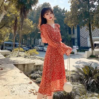 货号8890实拍现货#显白红色碎花雪纺裙韩版宽松显瘦花瓣袖中长款连衣裙