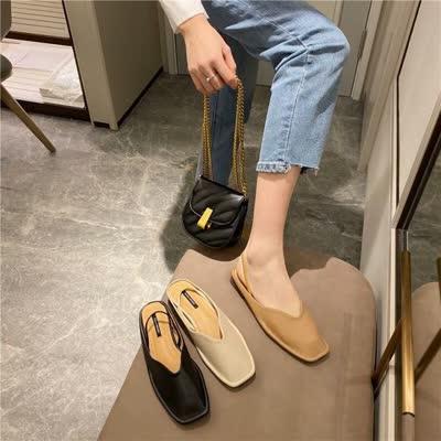 韩版包头半拖鞋社会女夏外穿新款时尚平底穆勒鞋懒人网红凉拖