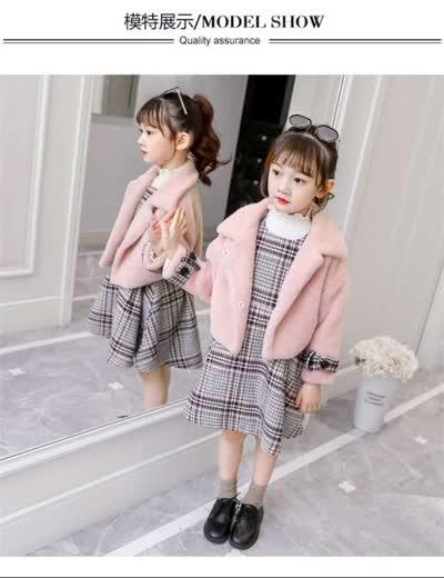 X03346  女童毛呢套装公主风秋冬新品中大童呢子外套连衣裙韩版儿童两件套  ¥105