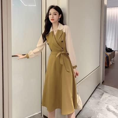 货号85228#,实拍~2020春季新款网红显瘦气质拼接裙子中长款长袖连衣裙女潮