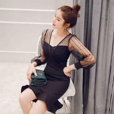 2020秋装新款女装轻熟性感V字领网纱拼接修身显瘦鱼尾连衣裙A3020
