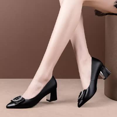 头层牛皮浅口单鞋2020春夏新款粗中跟韩版真皮女鞋水钻低帮鞋批发