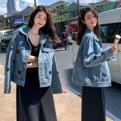实拍2020春新款牛仔短外套女猫咪重工刺绣上衣宽松显瘦小个子夹克