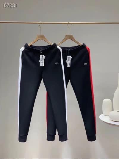 法鳄高端侧边拼接撞色休闲裤男女运动裤卫裤长裤子双面烧毛平纹布 M-2XL(120-185斤)