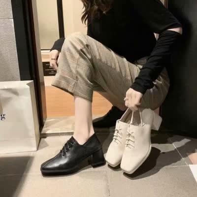 54现货!单鞋女2020春秋新款百搭英伦方头系带中跟皮鞋【品牌】薇慕倾情【货号】L01776