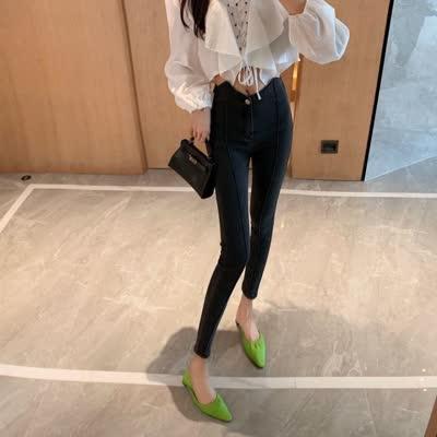 设计感复古高腰牛仔裤水洗宽松显瘦直筒老爹裤