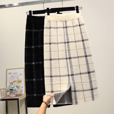 实拍现货2019新款水貂绒针织半身裙秋冬女韩版中长款包臀一步裙
