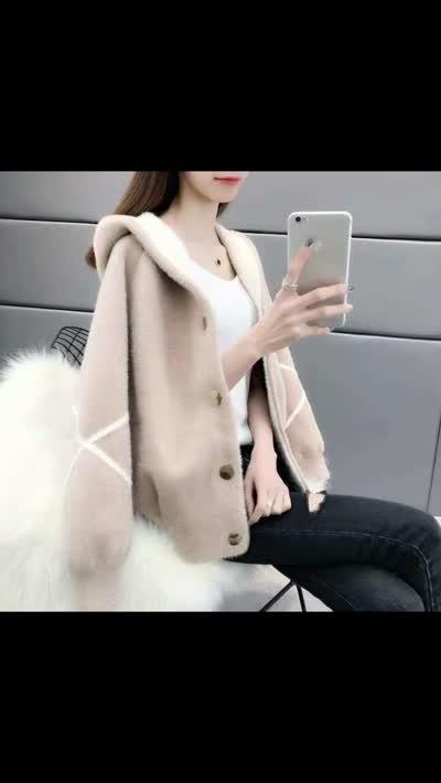 仿水貂绒短款春装女冬2019新款女装韩版宽松开衫连帽外套毛绒上衣