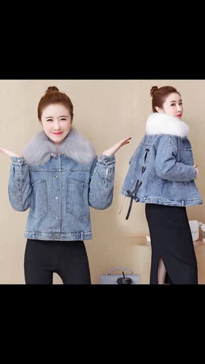 货号61988#,实拍2019新款冬季加绒棉衣女大毛领加厚牛仔韩版宽松短款外套