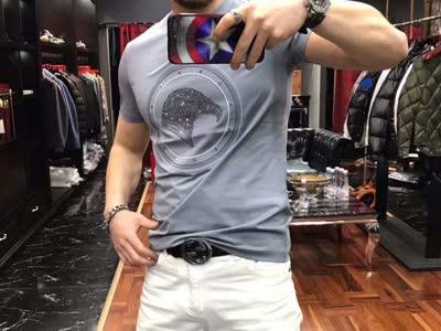 高品质丝光棉圆领短袖 2020新款潮牌时尚休闲男士丝光棉纯棉格子拼接色格子短袖