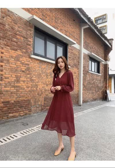 独家定制 春装新款收腰显瘦V领波点裙雪纺裙连衣裙