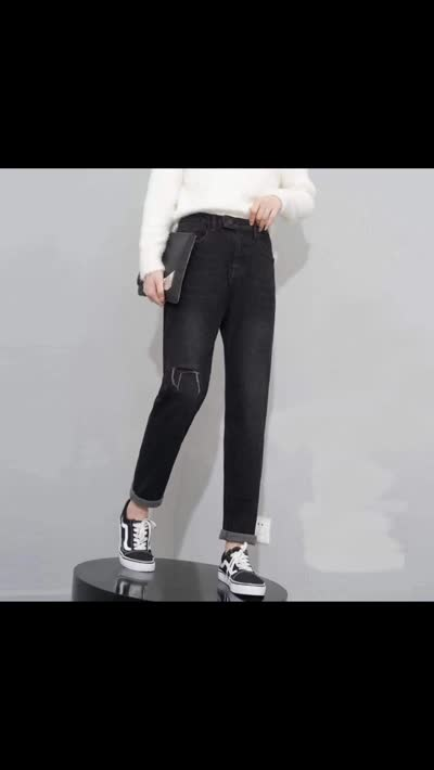 2019冬装新款女装【JLM服饰】韩版时尚大牌高端复合火山岩绒加绒牛仔微垮裤