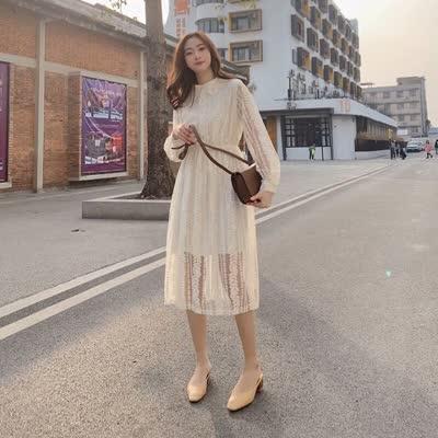 独家定制 春装新款收腰显瘦翻领中长裙蕾丝裙连衣裙
