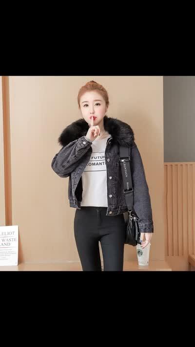 货号61861#,实拍  2019冬季新款韩版大毛领加厚长袖牛仔短外套女学生牛仔上衣