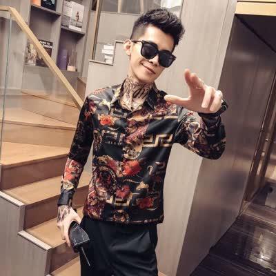 秋季新款欧洲潮流高端品质商务休闲男装长袖衬衫 采用进口光滑丝光面料搭配精致3D印花