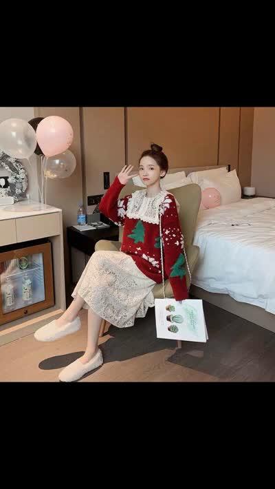 圣诞红色毛衣娃娃领蕾丝连衣裙两件套