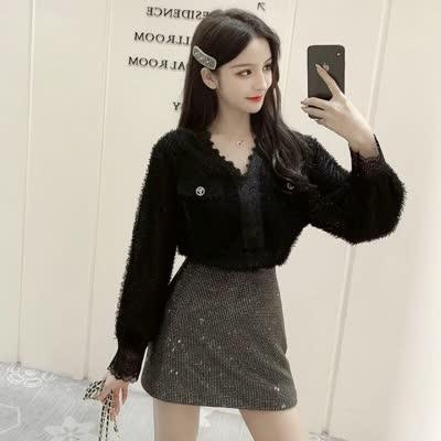 2020春装新款名媛气质V领蕾丝衬衫女长袖