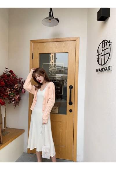 独家定制 春装新款背带裙连衣裙+针织开衫两件套装